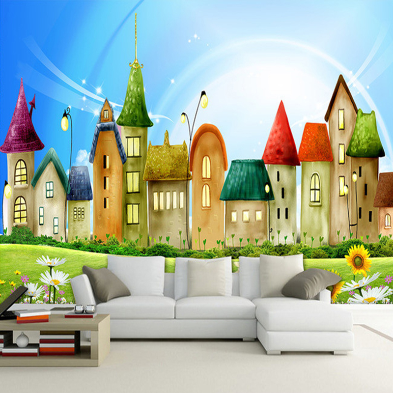 Custom Photo Wall Paper 3D Castle Cartoon House Large Wall Painting Children Kids Room Bedroom Non-woven Embossed Wallpaper Roll
