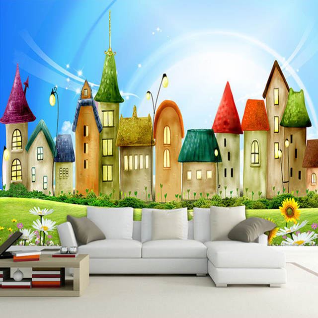Online Custom Photo Wall Paper Castle Cartoon House Large Painting Children Kids Room Bedroom Non Woven Embossed Wallpaper Roll Aliexpress