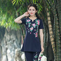 Ethnic Style 2017 Summer New Women Cotton Elastic Long Tops Fashion New 4XL Large Size Blue Black Red White Green T Shirt