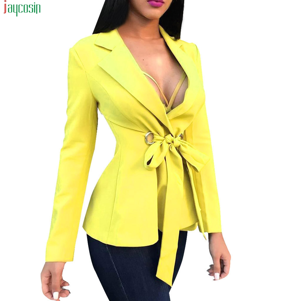 JAYCOSIN Fashion Yellow Suit Blazer Jacket Women Long Sleeve Sexy V Neck Bandage Blazer Elegant Slim Suit Coat Ladies Blazer new