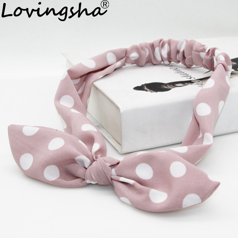 LOVINGSHA Big Dot Design Hair Tie Cute Ladies Hair Accessories For Women Bow Hair Holder Rope Female Headbands Turban FD094