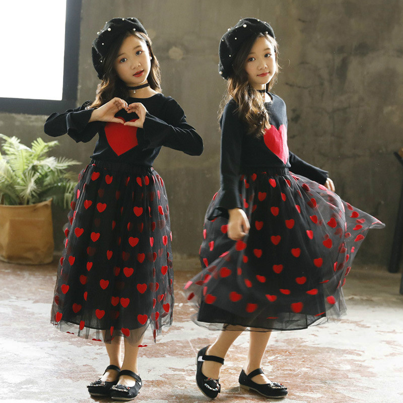 New Fashion Teens Autumn Heavy Love Sequins T-shirt + High Waist Embroidery Heart Gauze Skirt 2 Pcs Girls Long Skirt Suit CA356 бумага крепированная белый перламутр 50х250 см 28592 10