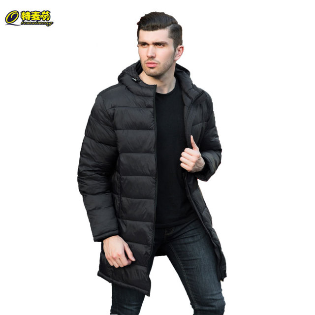 Get Discount Price Brand Qtemaimeng Men Winter Long Jacket with Hooded Casual Big Size 3XL Black Down Cotton Long Coat Windproof Warm Parka