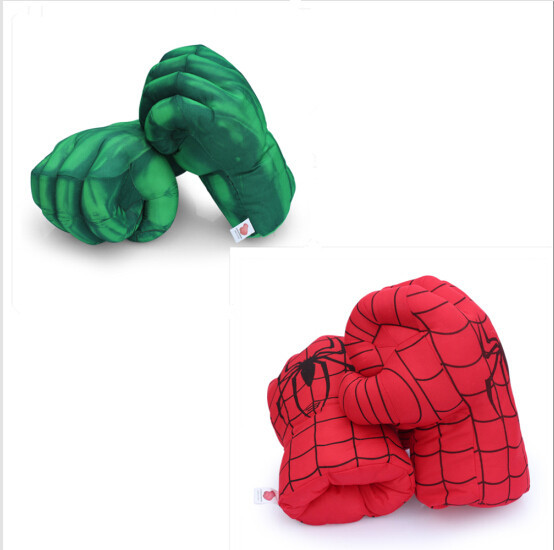 13'' Incredible Hulk Smash Hands + Spider Man Plush <font><b>Gloves</b></font> <font><b>Spiderman</b></font> Performing Props Toys Free Shipping