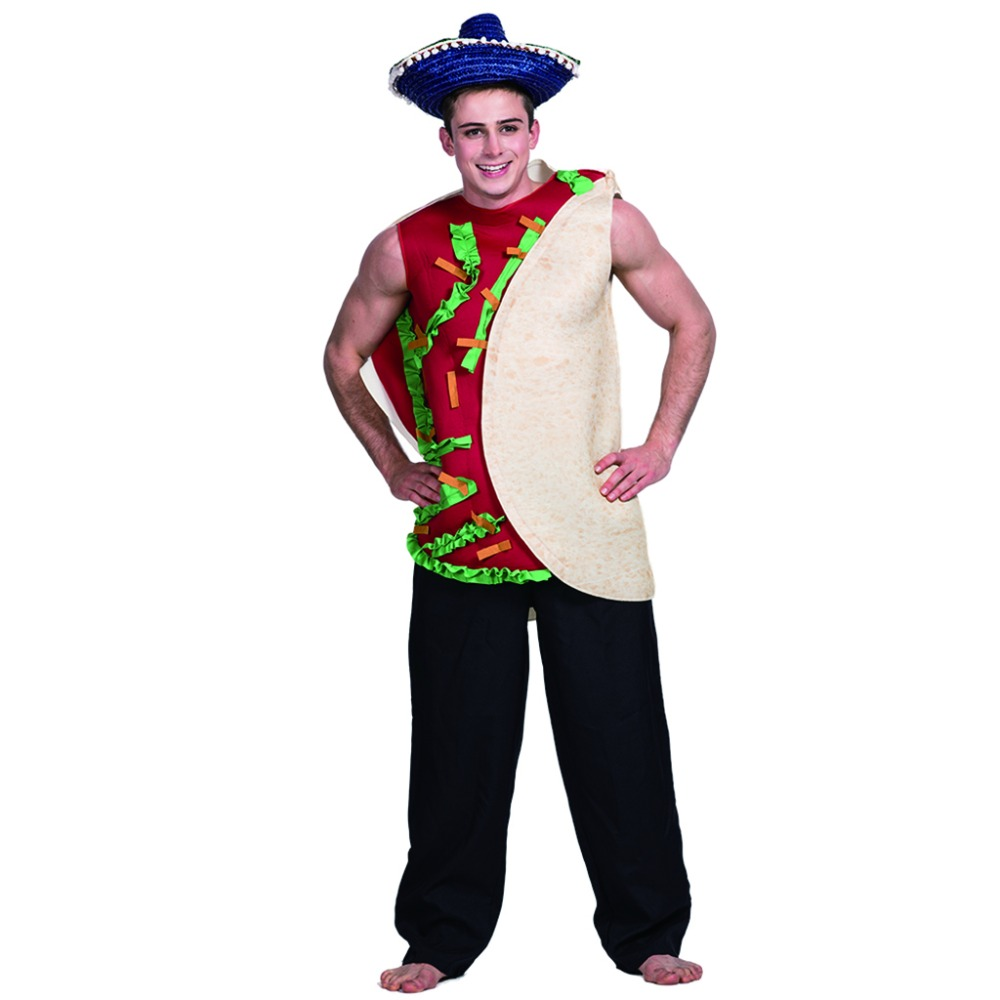 men hamburger sandwich mexican food taco costume carnival party adult male cosplay outfits clothing halloween costumes - Halloween Food Costume