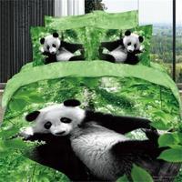Черный, белый цвет панда зеленые листья 3D животного Постельное бельё Queen Размеры 100% хлопка домашний текстиль 4 шт. Набор пододеяльников для п...