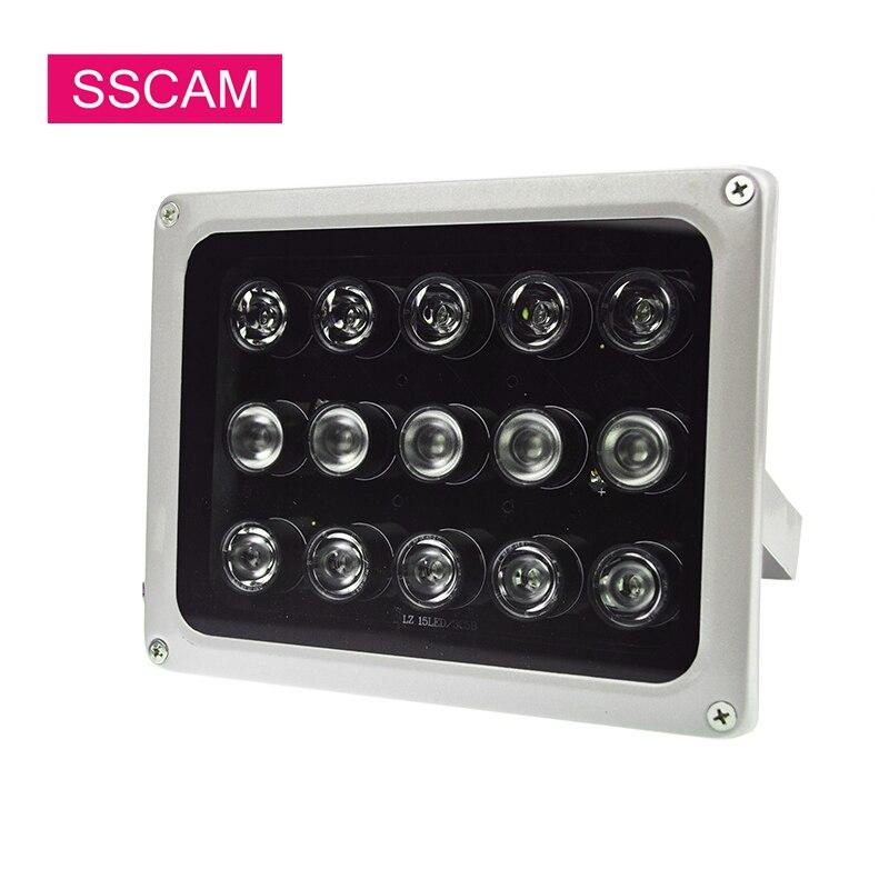 15 Pcs Arrays CCTV Câmera Infravermelha LEDS IR Luz de Preenchimento IP66 Illuminatoring 12 V Leds Luzes À Prova D' Água DC para CCTV câmera durante a Noite