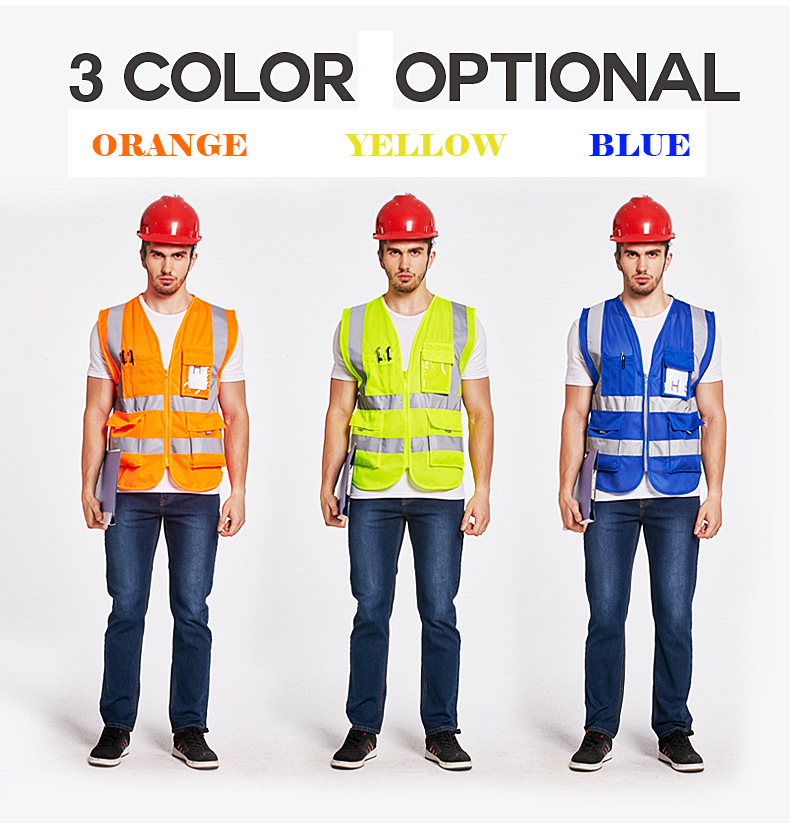 SFVEST HI VIS VIZ EXECUTIVE VEST HIGH VISIBILITY WORK WAISTCOAT REFLECTIVE SAFETY FLUORESCENT ORANGE YELLOW BLUE FREE POST