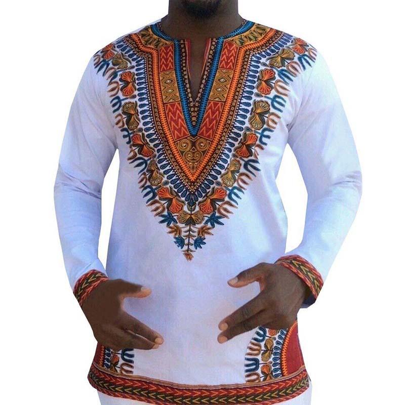 Fashion Men African Traditional Print Cotton Dashiki T