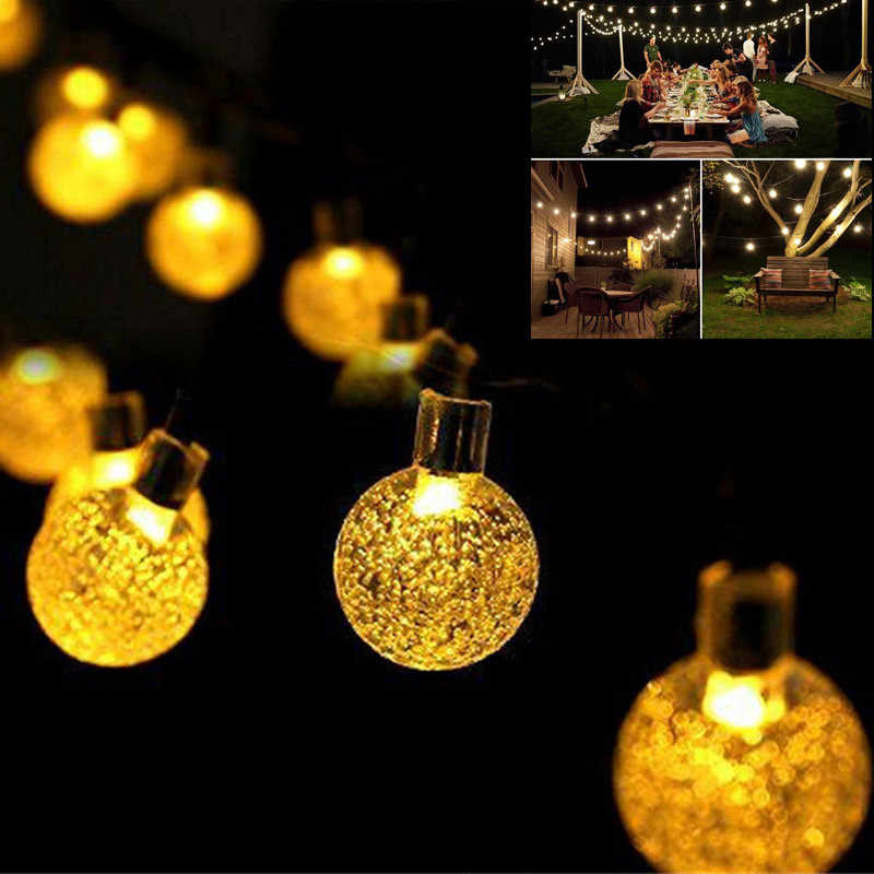 Новый 20 светодиодный S 5 м хрустальный шар Солнечная лампа Мощный светодиодный гирлянда сказочные огни гирлянды на солнечной энергии Сад Рождественский Декор для улицы