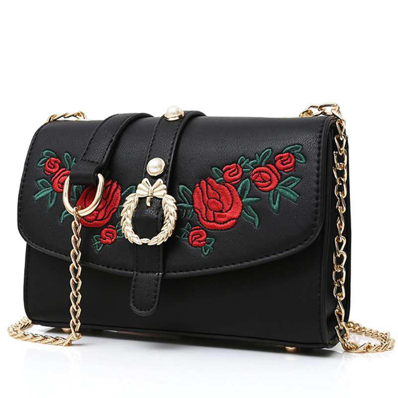 2017 New Famous Designer Embroidery Shoulder Bags Luxury Brand PU Leather Women Messenger Bag Chain Crossbody Bags for Women Sac