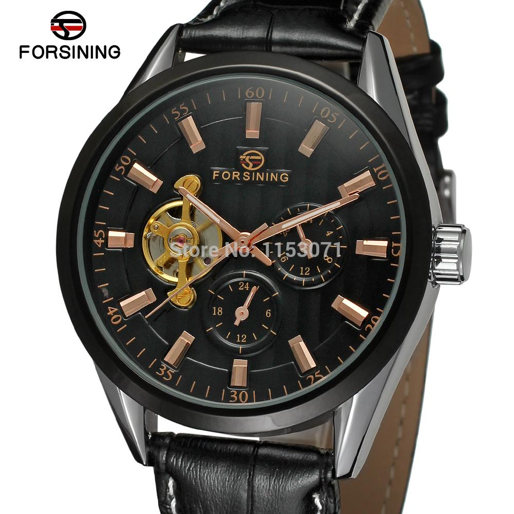 FSG293M3T2  Forsining Men's Automatic business wrist watch with black genuine leather strap gift box free shipping  whole sale