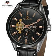 FSG293M3T2 Forsining мужская Автоматическая бизнес наручные часы с черным кожаный ремешок подарочная коробка бесплатная доставка оптовая