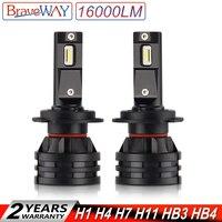 BraveWay 2019 Новый Светодиодные фары H7 16000LM H11 светодиодный светильник для Автомобильные фары H1 H4 H8 H9 9005 9006 HB3 HB4 Turbo H7 светодиодный лампы 12 V