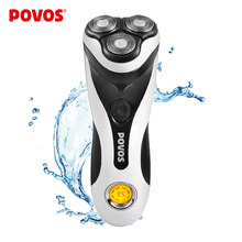 POVOS Men Washable Rechargeable Rotary Electric Shaver Razor with 3D Floating Structure 1 Hour Quick Charge Hair Removal PQ8602