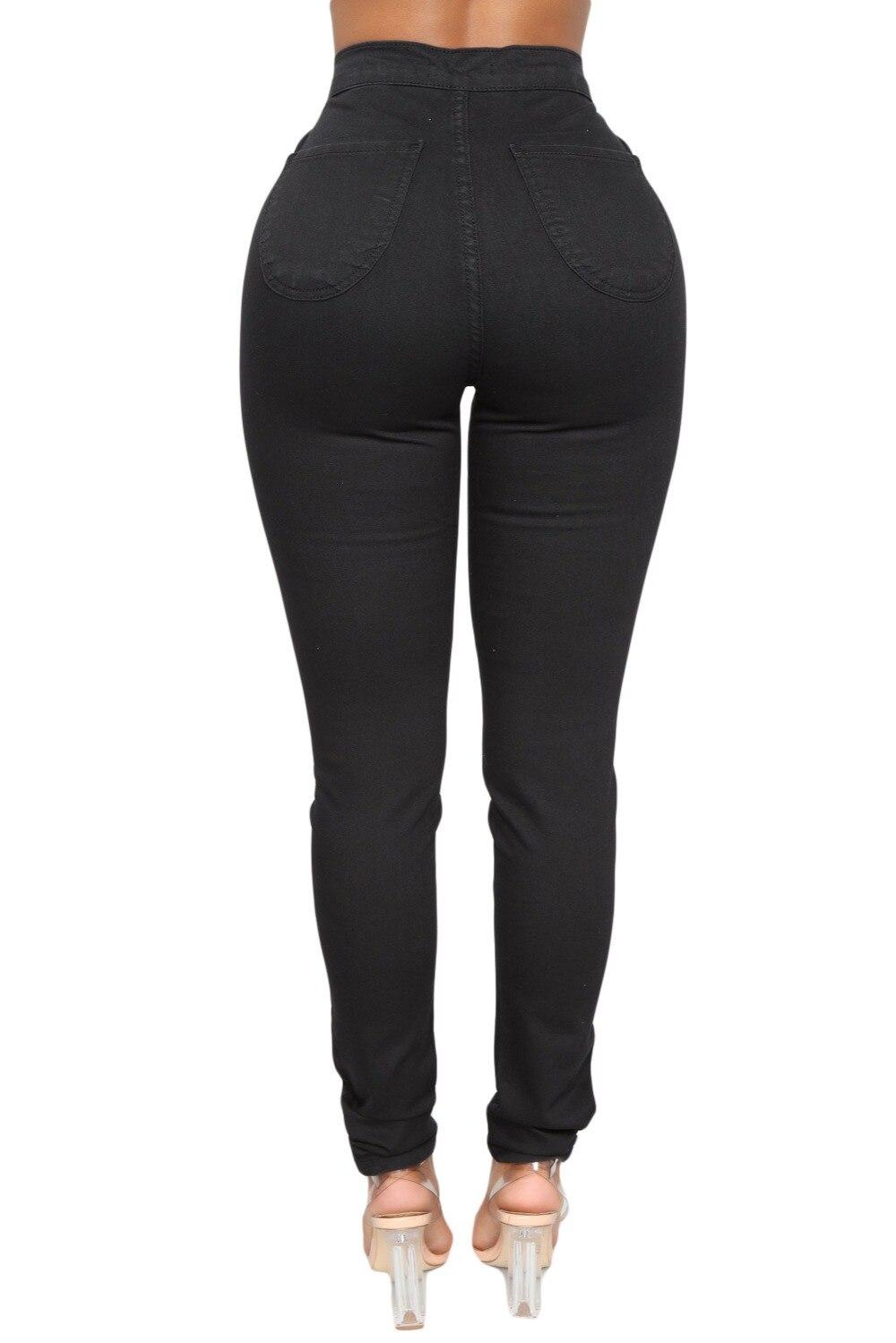 Cremallera Redondos Ropa Negro Invierno Negros Vaqueros Grande Pantalones Mujer Alta Bolsillos xxl S Cintura Talla Ajustados Para Con De wxZxUqA7t