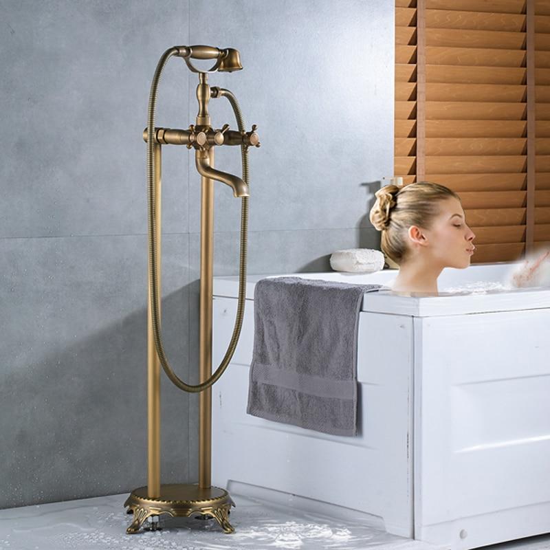 Brass Dual Handle Floor Mount Tub Mixer Faucet Freestanding Clawfoot Bathtub Sink Faucet Swivel Spout 150cm