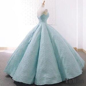 Image 2 - V boyun mavi dantel tül abiye 2020 uzun artı boyutu düğün parti elbise balo resmi elbise zarif balo elbisesi