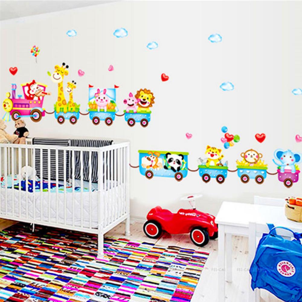 tren animales globos etiqueta engomada casera de la pared papel de pared saln cocina habitacin habitacin