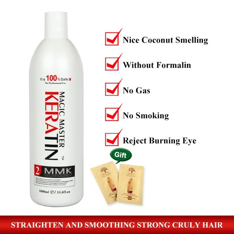 Offre spéciale 1000 ml Magic Master belle noix de coco sentant le traitement brésilien de kératine sans formol droit et réparer les cheveux endommagés