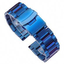 Stainless Steel Watchband Blue Black Gold Women Men Watch Band Link Bracelet 18mm 20mm 22mm 24mm Watch Accessories