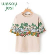 t-shirt women england style print Tropical rain forest cartoon t shirt 2019 summer women tops plus size все цены