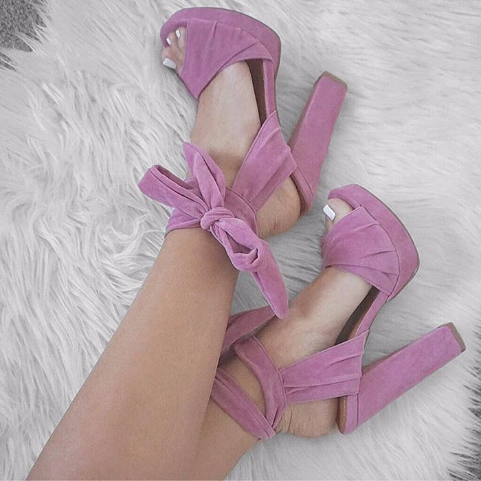 Здесь продается  Violet suede leather lace up sandals Strapped In Tied Chunky heel woman shoes Peep Toe high Heel ladies shoes fit slim sandals  Обувь