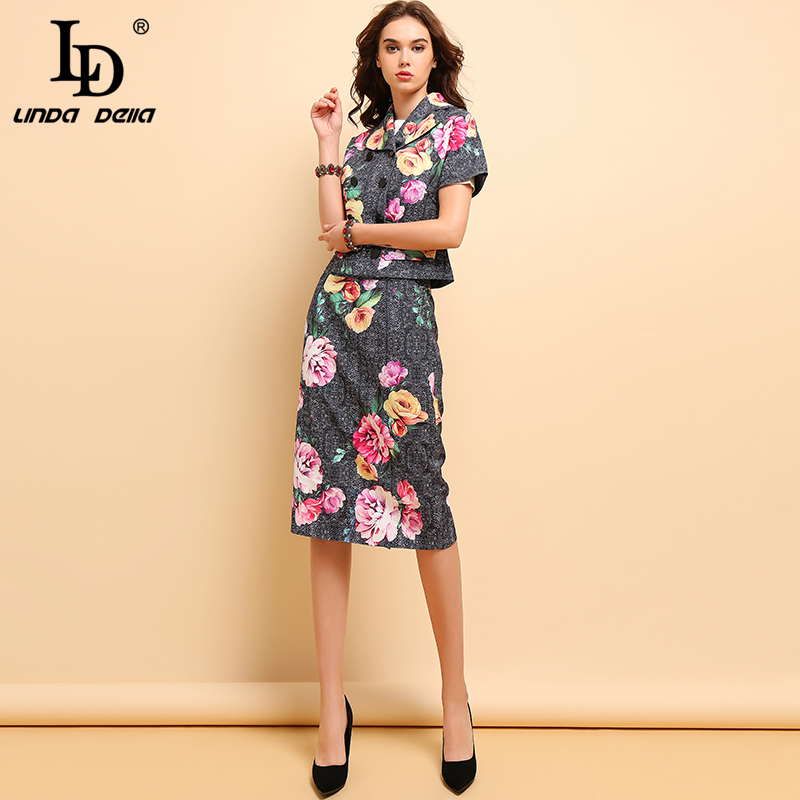 LD LINDA DELLA Autumn Fashion Suits Women's Elegant Short Sleeve Floral Printed Tops And Vintage Back Split Skirt Two Pieces Set