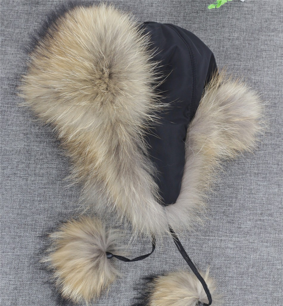 On Sale 100% Real Fox fur Women's Russian Ushanka Aviator trapper snow skiing Hat caps earflap winter raccoon fur Bomber hat 19