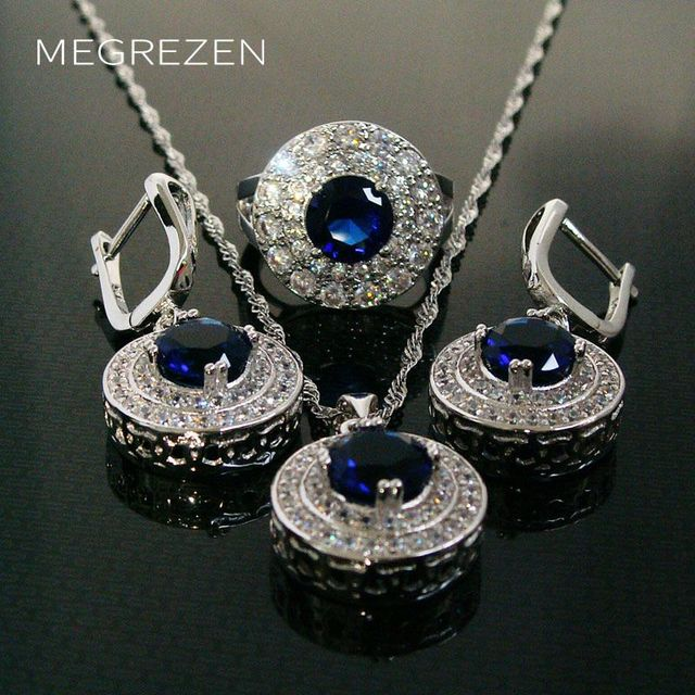 Cubic Zircon Jewelry Sets Silver Christmas Costumes Jewellery Blue Stone Ring Earring Necklace Set Bijoux Mariage Ys002-5