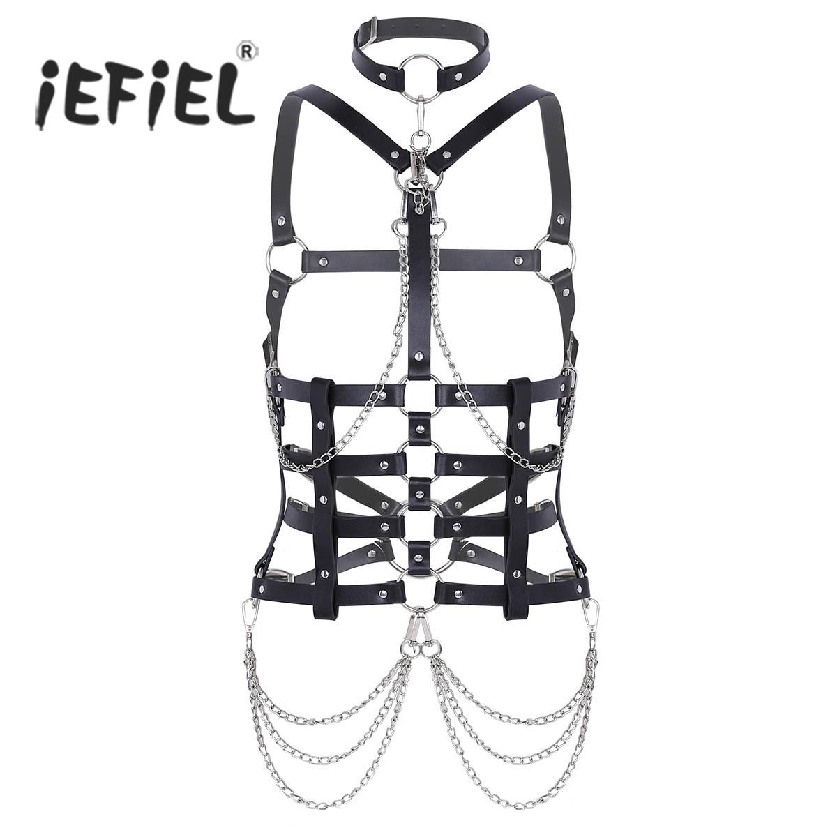 iEFiEL Women Fashion PU Leather Bondage Tassels Waist Belt Halter Neck Studs Half Body Chest Harness Belt Cosplay Club Costumes