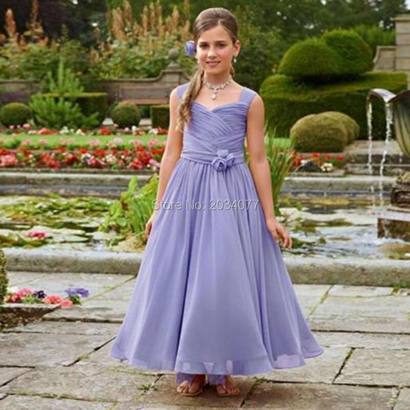 Lila Vestidos de Niña Vestidos Flowergirls Vestidos De Fiesta Para ...
