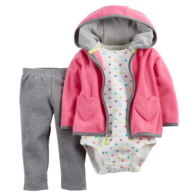 New Brand 2017 Baby Boy Girl's 3 Pieces Sets Fashion Style Regualr Full Sleeve Heart Hooded Coat+O-Neck One Piece Romper+ Pants