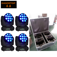 Gigertop 12x12W Beam Led Moving Head Light 15 DMX Channels Fan Cooling Cree Original RGBW 4IN1 Compacted Head Down + Road Case