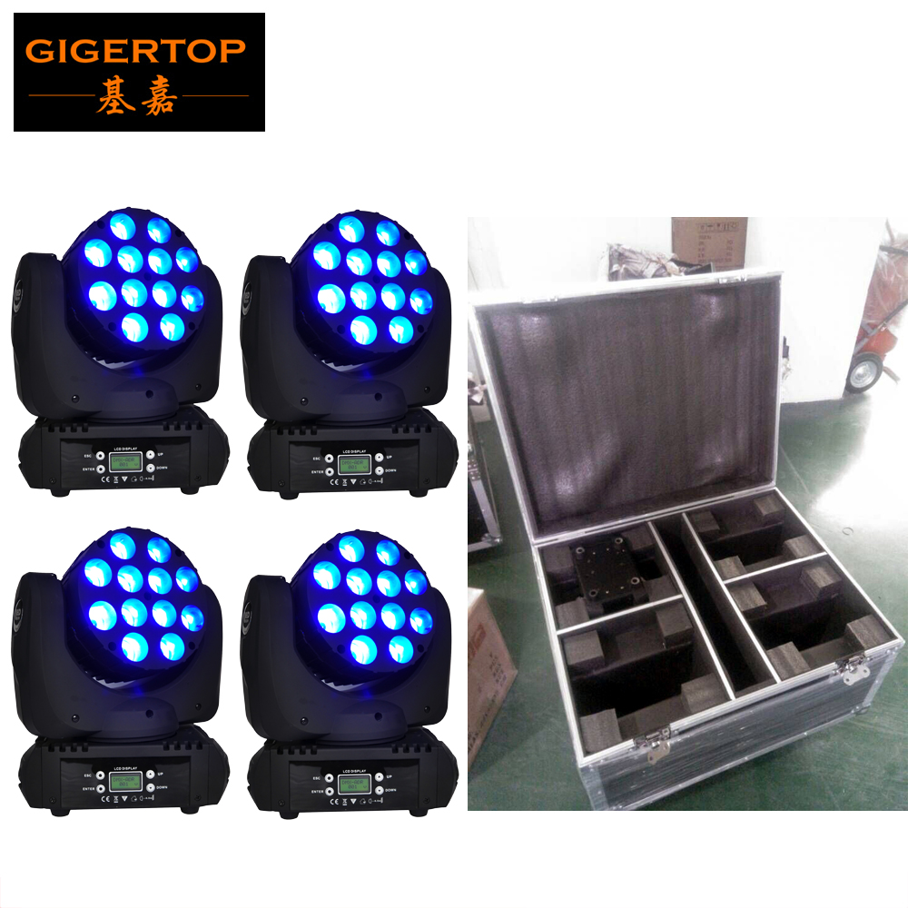 Gigertop 12x12W Beam Led Moving Head Light 15 DMX Channels Fan Cooling Cree Original RGBW 4IN1 Compacted Head Down + Road Case цена