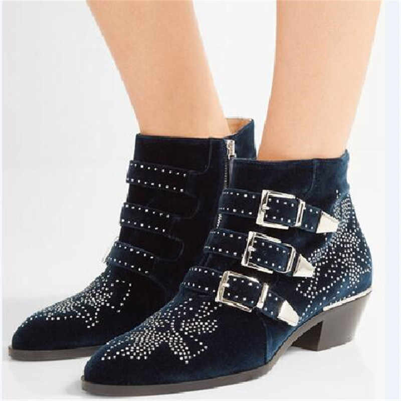 a3fbfc6d2d 2017 Susanna Studded Real Leather Ankle Boots Women Round Toe Rivet Flower  Martin Boots Women Luxury Velvet Boots Zapatos Mujer