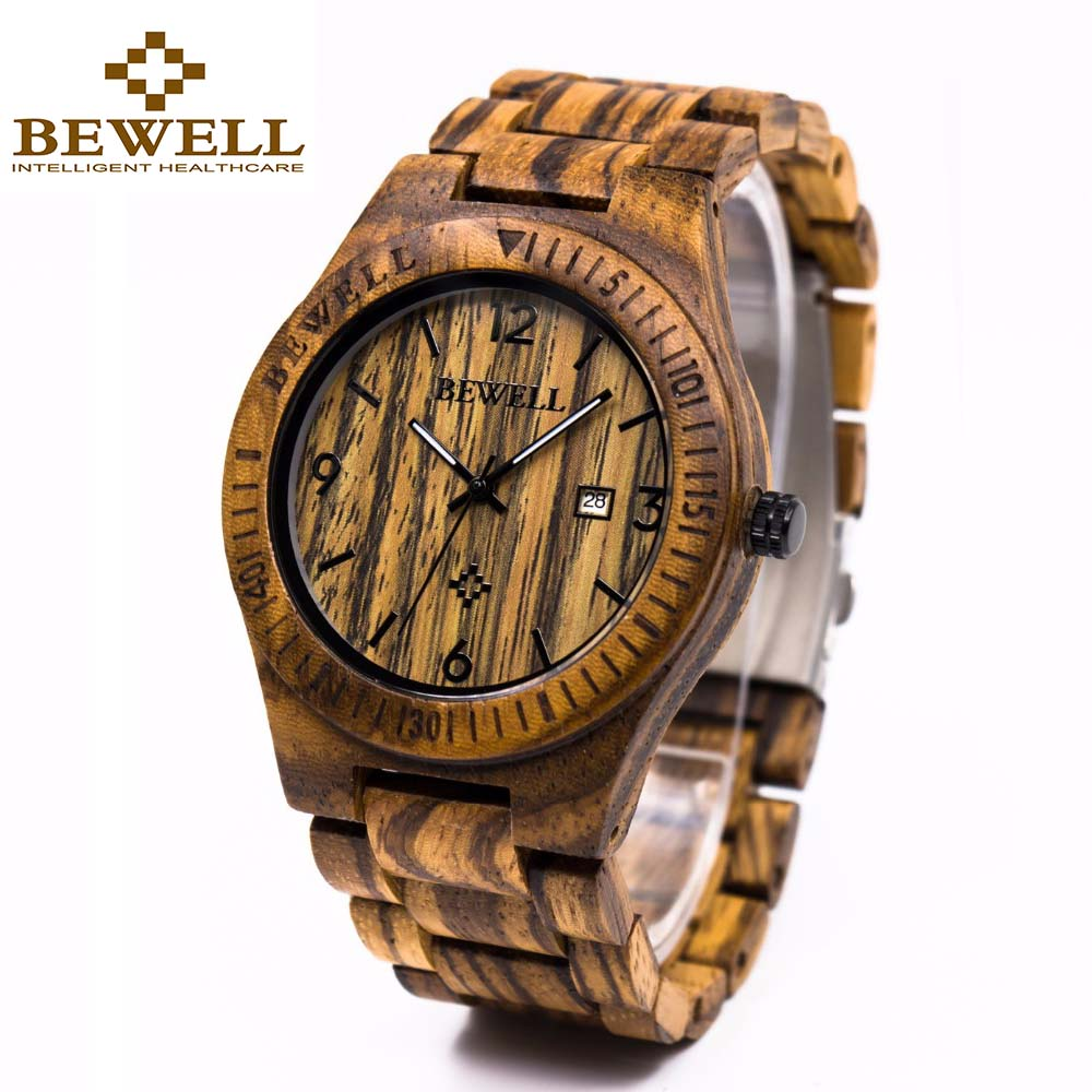 BEWELL Wooden Watch Calendar Luminous Quartz Casual Men's Fashion Luxury for with
