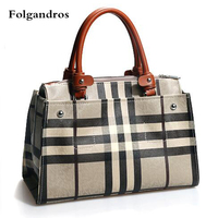 Luxury Brand Handbag Grid Stripes Women Bags Genuine Leather Ladies Briefcase Business Tote Bags Work Package