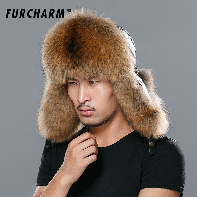 93f81e722 US $49.98 45% OFF|Star Fur 2018 Genuine Fox Fur Hats Men Real Raccoon Fur  Lei Feng Caps Russian Winter Men Bomber Hats with Genuine Leather Tops-in  ...