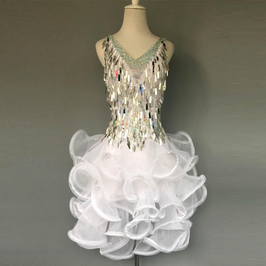 Gaya baru tari latin kostum, Batu seksi payet gaun dansa latin untuk - Kostum panggung dan pakaian tari - Foto 1