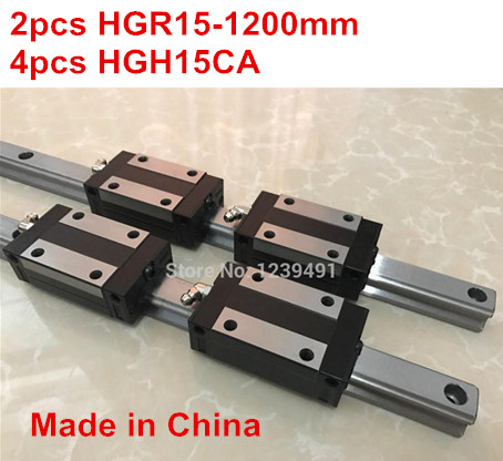 HG linear guide 2pcs HGR15 - 1200mm + 4pcs HGH15CA linear block carriage CNC parts салфетки hi gear hg 5585