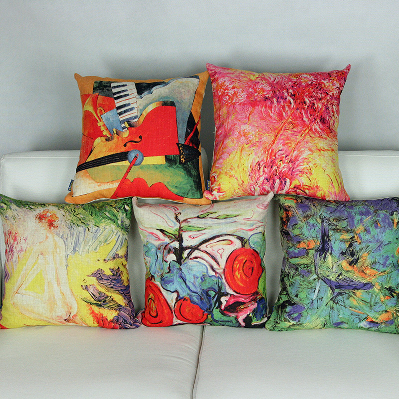 Vintage Cushion Covers Luxury Oil Painting Sofa Cover Home