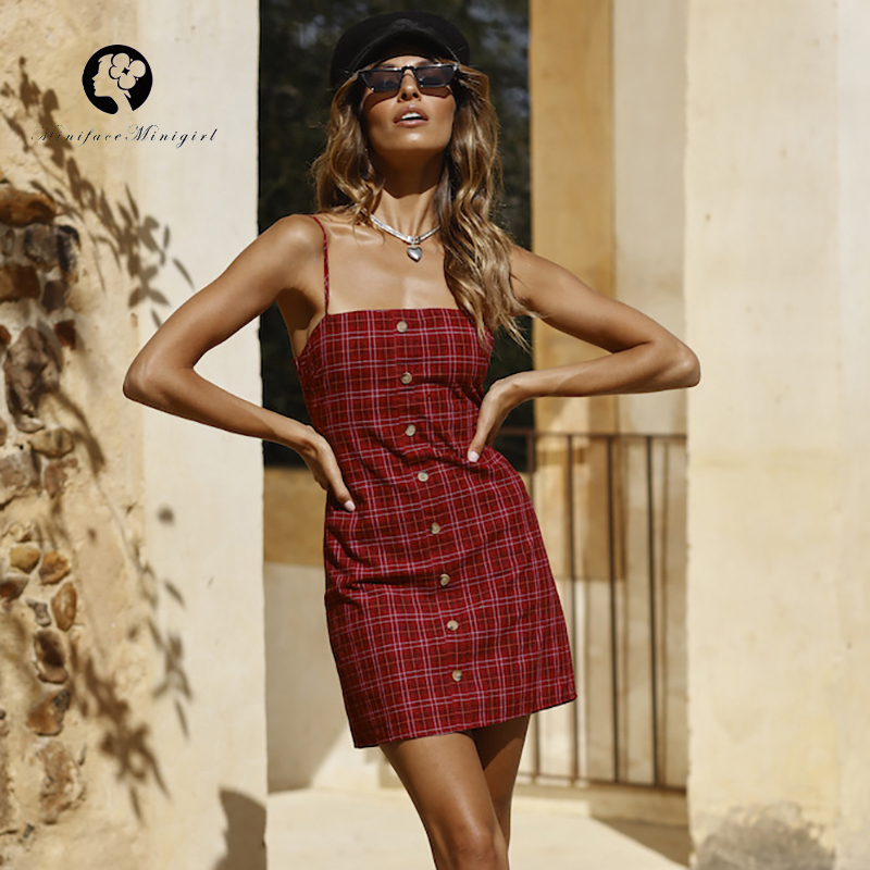 Red Short Tank Plaid Dress Women Summer Sleeveless Robe Femme Front Button Beach Lace Up Backless Sexy Dresses Vestidos 2018 leather