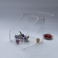 Acrylic Storage Display Box Home Jewelry Store Organizer Stand Holder With Hinged Slanted Door