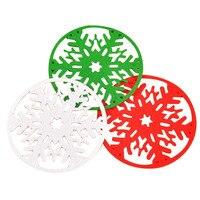 YHYS Christmas Snowflake Coasters Drink Coffee Tea Cup Mat Pad Xmas Table Decor