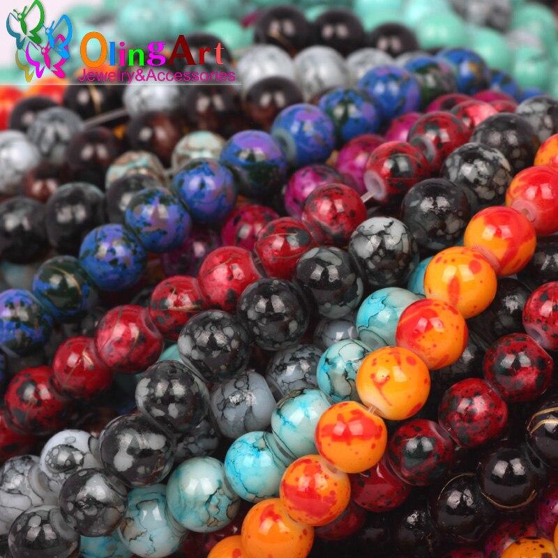 18683b9825ae OlingArt glass Beads 6 MM 100 unids Ronda Surtidos de Colores pendientes de  BRICOLAJE Pulsera gargantilla