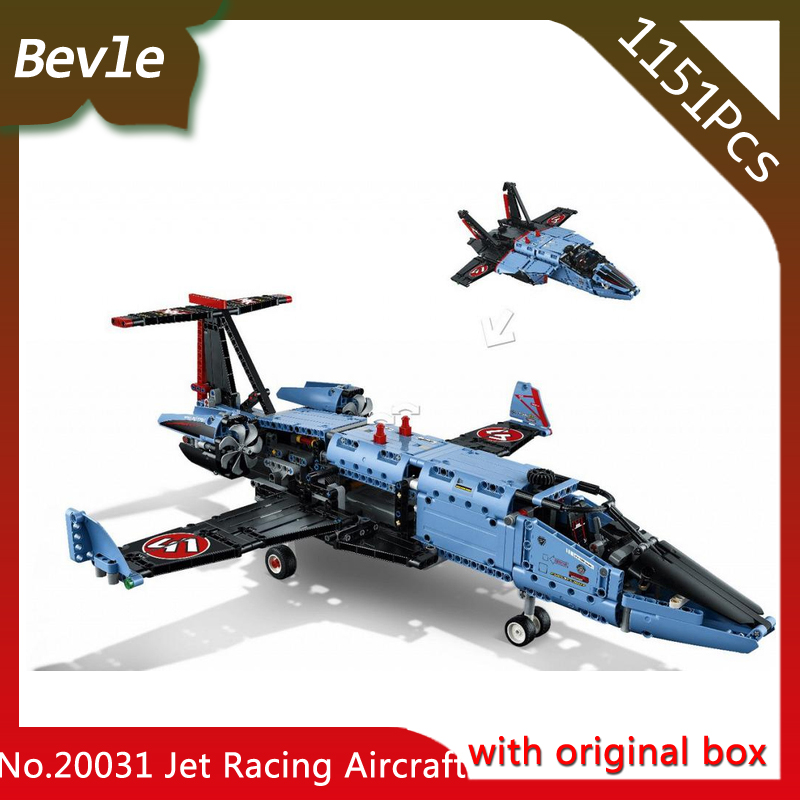 Bevle Store LEPIN 20031 1151Pcs with original box Technic Series Jet racing aircraft Model Building Blocks Children Toys 42066 lepin 20031 technic the jet racing aircraft 42066 building blocks model toys for children compatible with lego gift set kids