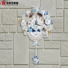 TUDA 2017 The Living Room Wall Clock Pendulum Clock Resin Ceramic Home Furnishing Commodity Watch