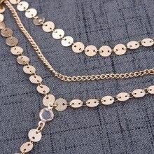Sexy Multilayer Sequins Crystal Rhinestone Tassel Pendants Chain Necklace Choker Collar Women Jewelry #235641