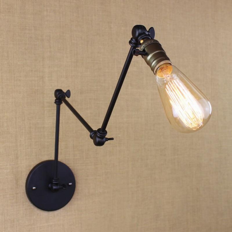 industrial retro vintage black adjust head swing arm wall lamps e27 lights sconce for bedside bedroom